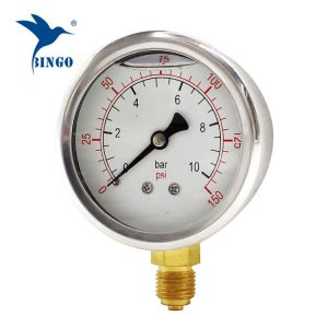 60 mm nerezová ocel mosazná přípojka spodní typ manometr 150PSI manometr naplněný olejem